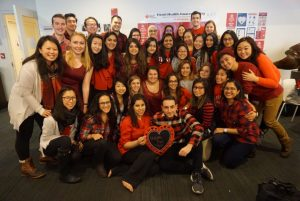 Students pose for a group show at at 13th Annual National Wear Red Day for Women