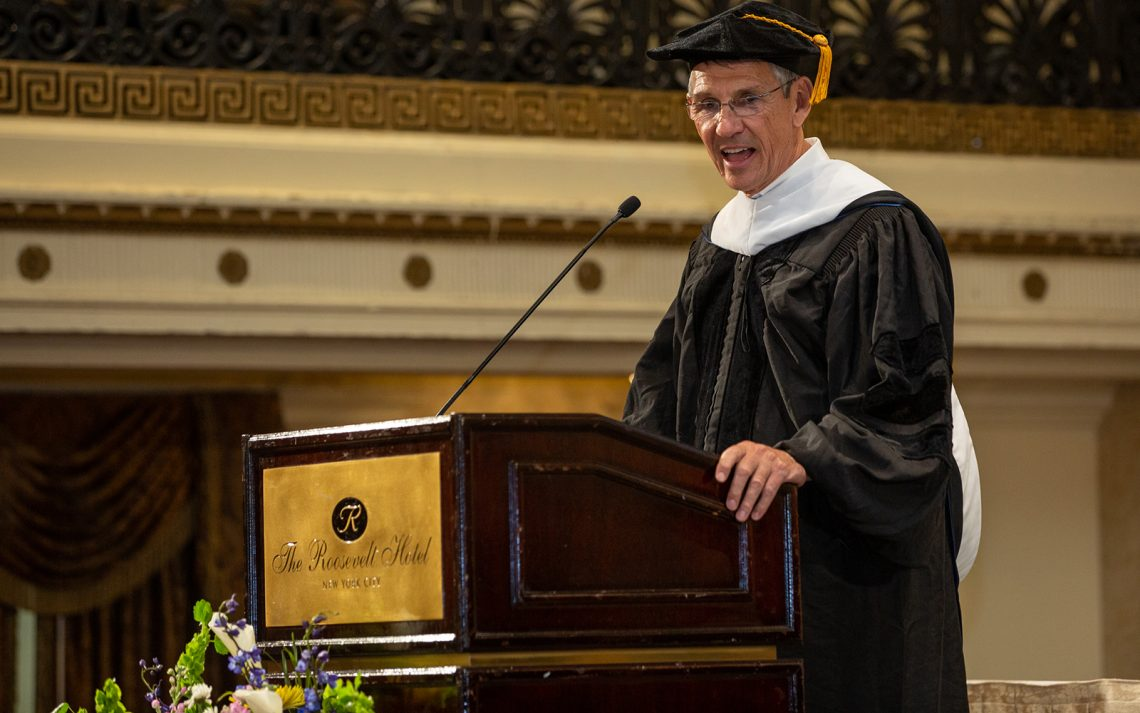 Essilor chairman Hubert Sagnières delivers the 2019 SUNY Optometry commencement address, The Roosevelt Hotel, May 23, 2019