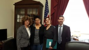 Dr. Alexandra Benavente-Perez with staffers in Rep. Yvette Clarke's Capitol Hill office