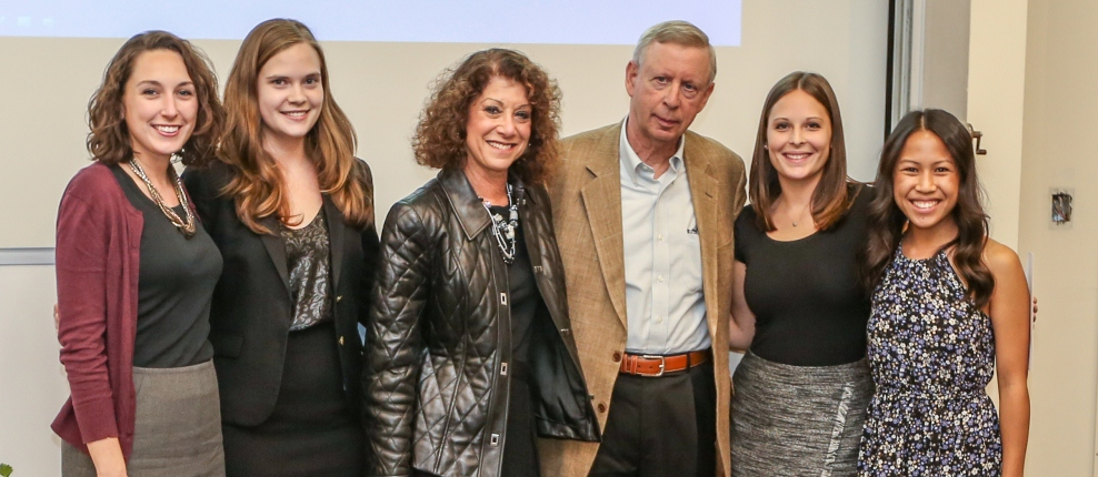 Dr. & Mrs. Ronald Millman (center) with 2015 Dr. Nathan and Laura Millman Scholarship recipients Dr. Meredith Stallone '18, Dr. Emily Freeman '18, Dr. Sarah Gleason '18 and Dr. Jennifer Nguyen '18