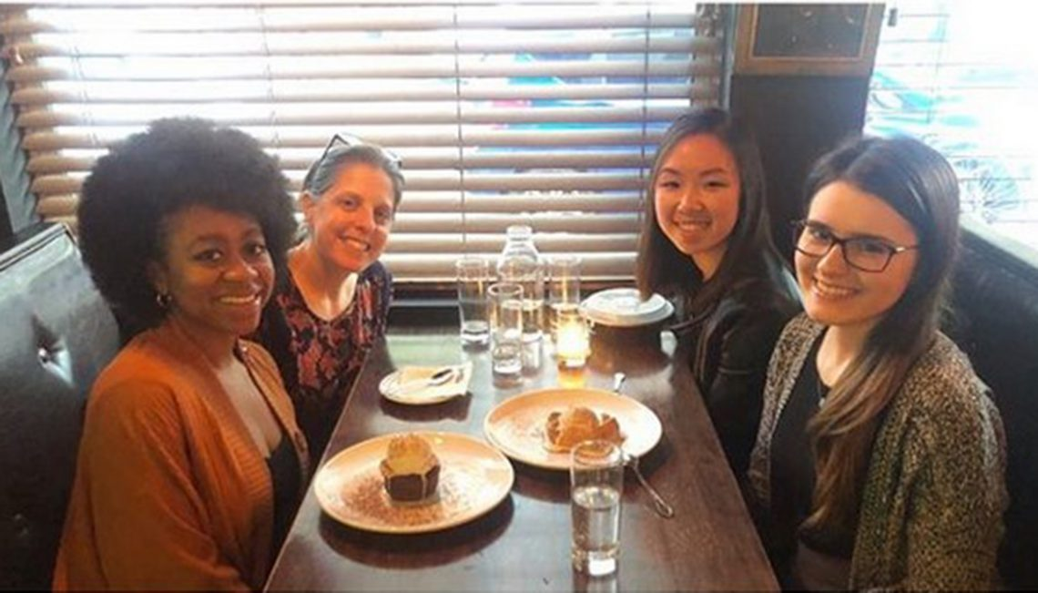 SOAPP members attend a Dining With Doctors dinner with Dr. Julia Appel '91